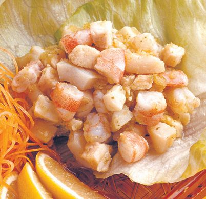 Seafood Salad with lemon and garlic